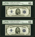 Reverse Changeover Pair Fr. 1654/1654 $5 1934D Narrow/1934D Wide I Silver Certificates. PMG Gem Uncirculated 65 EPQ...
