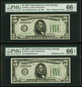 Changeover Pair Fr. 1956-G/1957-G $5 1934 Mule/1934A Federal Reserve Notes. PMG Gem Uncirculated 66 EPQ
