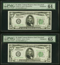 Changeover Pair Fr. 1957/D1958-D $5 1934A/1934B Federal Reserve Notes. PMG Choice Uncirculated 64 EPQ/Gem Uncirculated 6...