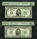 Small Size:Federal Reserve Notes, Reverse Changeover Pair Fr. 1958-D/1957-D $5 1934B/1934A Federal Reserve Notes. PMG Choice Uncirculated 64 EPQ; Gem Uncirculat... (Total: 2 notes)