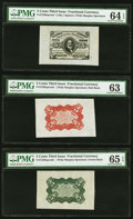 Fractional Currency:Third Issue, Fr. 1236/8SP 5¢ Third Issue Wide Margin Set (3) PMG Graded.. ... (Total: 3 notes)
