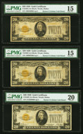 Small Size:Gold Certificates, Fr. 2402 $20 1928 Gold Certificates. Three Examples. PMG Graded Choice Fine 15 (2); Very Fine 20.. ... (Total: 3 notes)