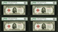 Fr. 1525 $5 1928 Legal Tender Notes. Four Examples. PMG Graded Choice Uncirculated 63 EPQ (3); Choice Uncirculated 64 EP...