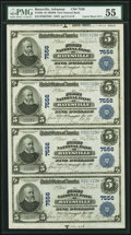 National Bank Notes:Arkansas, Batesville, AR - $5 1902 Plain Back Fr. 598 The First National Bank Ch. # 7556 PMG About Uncirculated 55 Uncut Sheet....