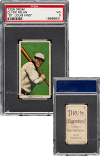 1909-11 T206 Drum Clyde Milan PSA VG 3 - The Only PSA Graded Example!