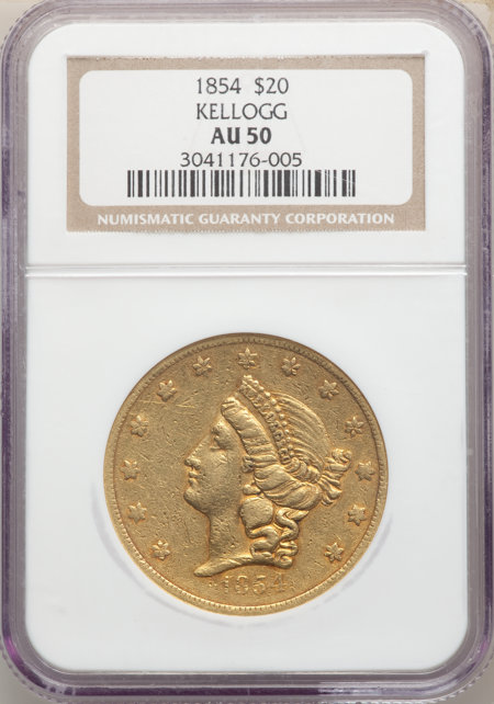 1854 $20 Kellogg & Co., MS 50 NGC
