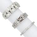 Estate Jewelry:Rings, Diamond, White Gold Rings. ... (Total: 3 Items)
