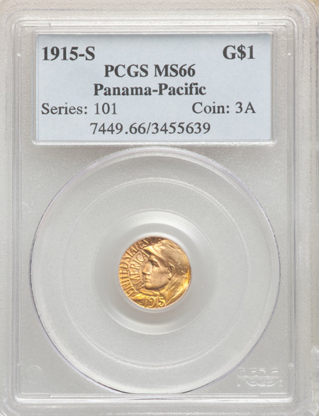 1915-S G$1 PAN-PAC Gold Dollar, MS 66 PCGS