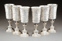 Six Clemens Friedell Silver Repoussé Goblets, Pasadena, California, 20th century Marks to each: FRIEDELL, PASAD...