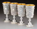 Silver & Vertu, Four English Partial Gilt Repoussé Silver Goblets...