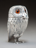 Silver & Vertu, A William Comyns & Sons Silver Owl-Form Covered Salt and Mouse-Form Spoon, London, 1958. Marks: (lion passant), leopard's he...