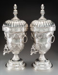 Silver & Vertu, A Pair of Monumental Continental Silver Hot Water Urns, probably Italy, late 20th century. Marks to each: (shield), R.E.J.... (Total: 2 )