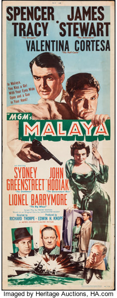"Malaya (MGM, 1949). Folded, Fine+. Insert (14"" X 36""). Adventure.. 