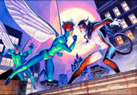 Tim and Greg Hildebrandt Fly and Fly Girl vs. Cat Girl Pre-Production Movie Concept Art Painting Original Art (199