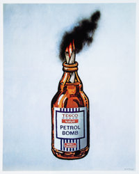 Banksy X Bristol Riots Petrol Bomb, poster, 2011 Offset lithograph in colors on satin white paper 19-3/4 x 15-5/8 inc