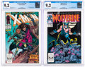 Modern Age (1980-Present):Miscellaneous, X-Men #266 and Wolverine #1 (Marvel, 1988-90) CGC NM- 9.2 White pages.... (Total: 2 Items)