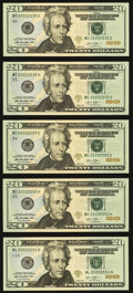 Matching Fancy Serial Numbers and More Fr. 2097-D (2); E (2); L $20 2013 Federal Reserve Notes. Five Examples. Gem Crisp...