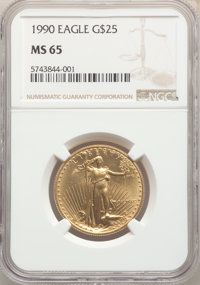 1990 $25 Half-Ounce Gold Eagle MS65 NGC. NGC Census: (27/4117). PCGS Population: (33/1262). Mintage 31,000. ...(PCGS# 98...