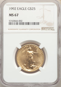 1992 $25 Half-Ounce Gold Eagle MS67 NGC. NGC Census: (97/5919). PCGS Population: (136/2354). Mintage 54,404. ...(PCGS# 9...