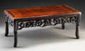 Furniture, A Chinese Carved Hardwood Kang Table. Marks: CHUEN SENG, Finest Carved Marble Black Wood Furnitures, AND OLD CURIOUS ETC E...