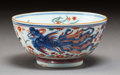 Ceramics & Porcelain, A Chinese Clobbered Porcelain Bowl, Qing Dynasty, Kangxi Period. Marks: Pictorial mark in two concentric circles in undergla...