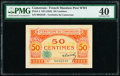 World Currency, Cameroon Territoire Du Cameroun 50 Centimes ND (1922) Pick 4 PMG Extremely Fine 40.. ...
