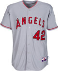 """Baseball Collectibles:Uniforms, 2013 Mike Trout """"Jackie Robinson Day"""" Game Worn Los Angeles Angels of Anaheim Jersey--Photo Matched & MLB Authentic...."""