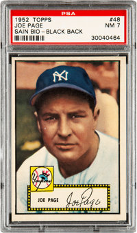 1952 Topps Joe Page (Sain Bio-Black Back) #48 PSA NM 7