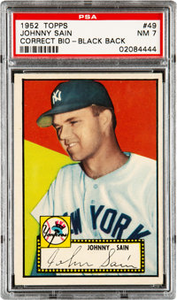 1952 Topps Johnny Sain (Sain Bio-Black Back) #49 PSA NM 7 - Only Four Higher