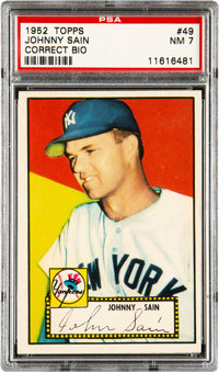 1952 Topps Johnny Sain (Sain Bio-Red Back) #49 PSA NM 7