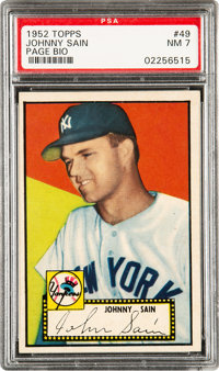 1952 Topps Johnny Sain (Page Bio-Black Back) #49 PSA NM 7 - Pop Four, Three Higher