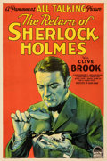 "Movie Posters:Mystery, The Return of Sherlock Holmes (Paramount, 1929). Fine+ on Linen. One Sheet (27"" X 41"") Style A. From the Paul D. Herbert C..."