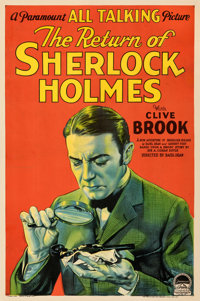 "The Return of Sherlock Holmes (Paramount, 1929). Fine+ on Linen. One Sheet (27"" X 41"") Style A. From the Paul..."