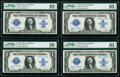 Large Size:Silver Certificates, Fr. 238 $1 1923 Silver Certificate PMG Choice Uncirculated 63 EPQ (3), Choice About Uncirculated 58 EPQ Cut Sheet of Four.. ... (Total: 4 notes)
