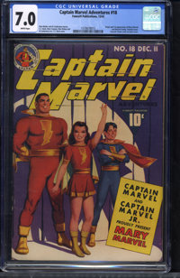 Captain Marvel Adventures #18 (Fawcett Publications, 1942) CGC FN/VF 7.0 White pages