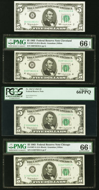Fr. 1967-B; D; F; G; J; L; A*; B*; C*; D*; F*; G* (2); H*; J*; K*; L $5 1963 Federal Reserve Notes