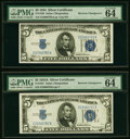 Reverse Changeover Pair Fr. 1651/1650 $5 1934A/1934 Non-Mule/Mule Silver Certificates. PMG Choice Uncirculated 64 EPQ