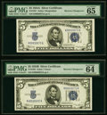 Small Size:Silver Certificates, Reverse Changeover Pair Fr. 1652/1651 $5 1934B/1934A Silver Certificates. PMG Choice Uncirculated 64 EPQ; Gem Uncirculated 65 ... (Total: 2 notes)