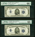 Small Size:Silver Certificates, Reverse Narrow/Wide I Changeover Pair Fr. 1654* $5 1934D Silver Certificates. PMG Gem Uncirculated 66 EPQ; Gem Uncirculated 65... (Total: 2 notes)