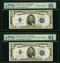 Reverse Changeover Pair Fr. 1651/1650 $5 1934A Mule/1934 Silver Certificates. PMG Choice Uncirculated 64 EPQ; Gem Uncirc...