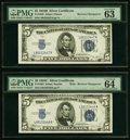 Small Size:Silver Certificates, Reverse Changeover Pair Fr. 1653/1652 $5 1934C Wide/1934B Silver Certificates. PMG Graded Choice Uncirculated 64 EPQ; Choice U... (Total: 2 items)
