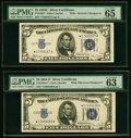 Small Size:Silver Certificates, Reverse Changeover Pair Fr. 1654*/1653* $5 1934D Wide I/1934C Wide Silver Certificates. PMG Choice Uncirculated 63 EPQ; Gem Un... (Total: 2 notes)