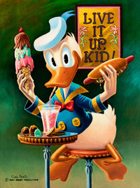 Carl Barks Live It Up Donald, You're 50! Lithograph Print #202/500 (Another Rainbow, 1981)