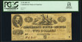 Confederate Notes:1861 Issues, T38 $2 1861 PF-1 Cr. 286 PCGS Apparent Fine 15.. ...