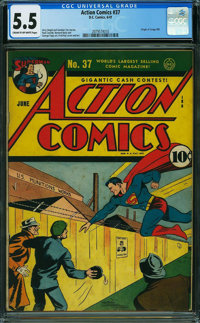 Action Comics #37 (DC, 1941) CGC FN- 5.5 Cream to off-white pages