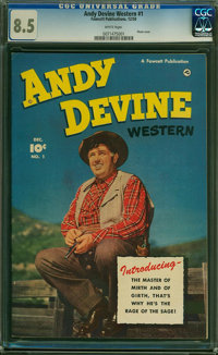 Andy Devine Western #1 (Fawcett Publications, 1950) CGC VF+ 8.5 White pages