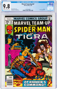 Marvel Team-Up #67 Spider-Man and Tigra (Marvel, 1978) CGC NM/MT 9.8 Off-white to white pages