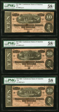 Confederate Notes:1864 Issues, T68 $10 1864 Three Examples PMG Choice About Unc 58-58 Net.. ... (Total: 3 notes)