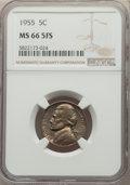 1955 5C MS66 Full Steps NGC. NGC Census: (0/0). PCGS Population: (14/1). CDN: $1,800 Whsle. Bid for problem-free NGC/PCG...