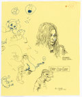 Original Comic Art:Sketches, Robert Crumb and Another Artist - Placemat Sketch Original Art (1992)....